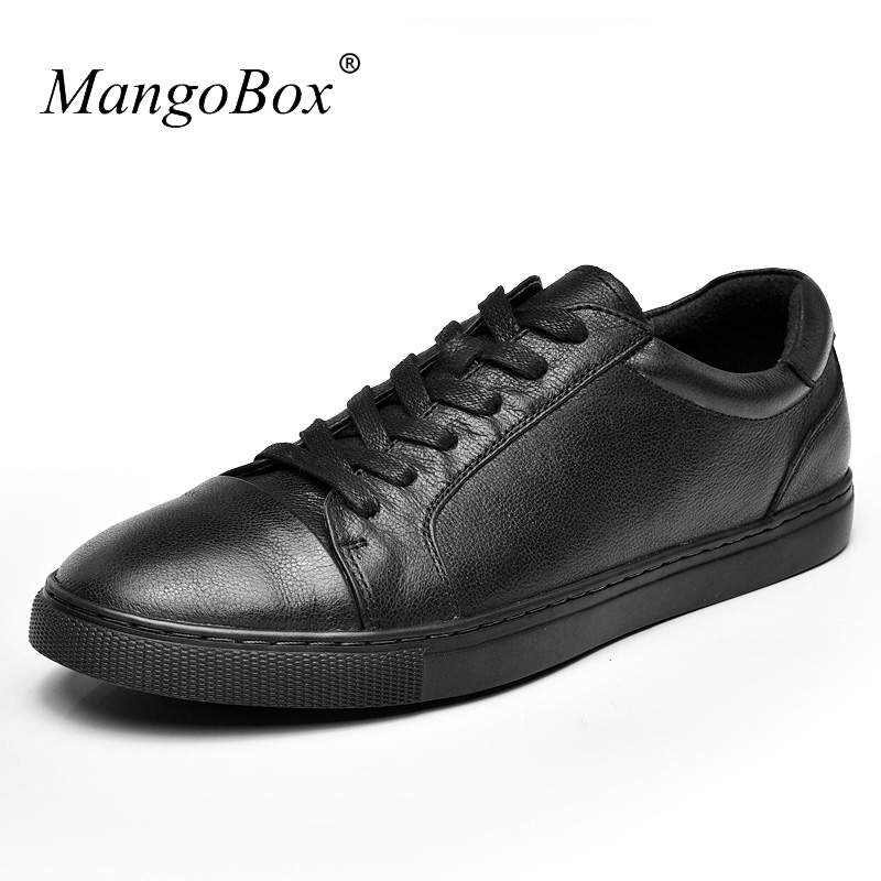 Mangobox Brand High Quality Mens Casual Shoes Black Men Luxury Shoes Spring Leather Flat Sneakers Men Comfortable Trainers 2017 new arrival spring men casual shoes mens trainers breathable mesh shoes male hombre hip hop street shoes high quality