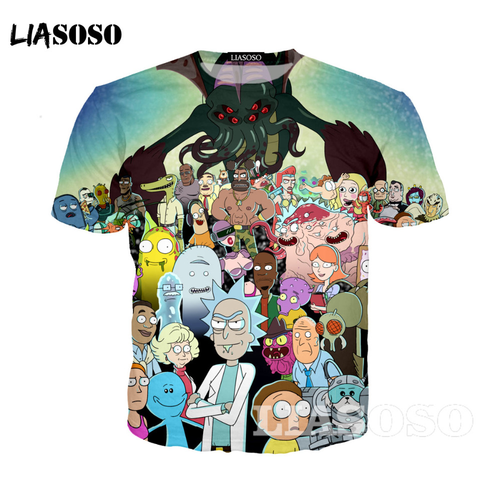 LIASOSO  Rick and Morty T-shirt New Anime Style  3D Shirt O-Neck Short Sleeve T Shirt Homme Rick Morty Fans T shirts A3215