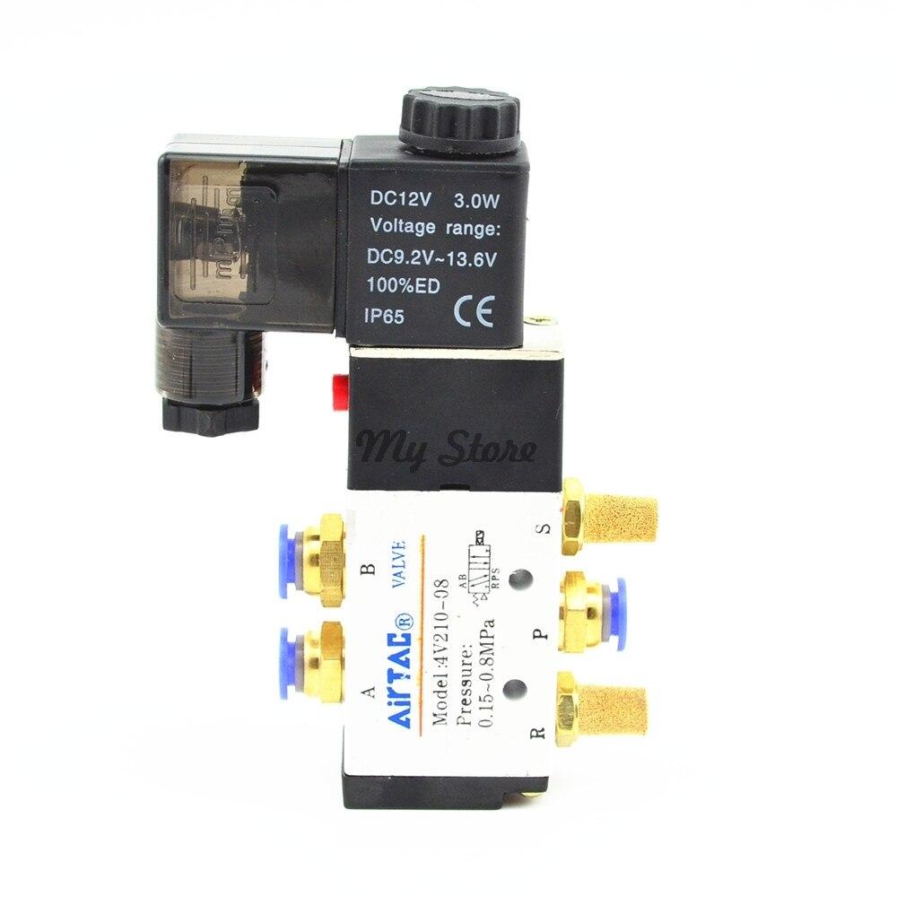5 Way 2 Position Magnetventil Mit 6mm 8mm 10mm 12mm Fitting 4V210-08 DC24V DC12V AC110V AC220V