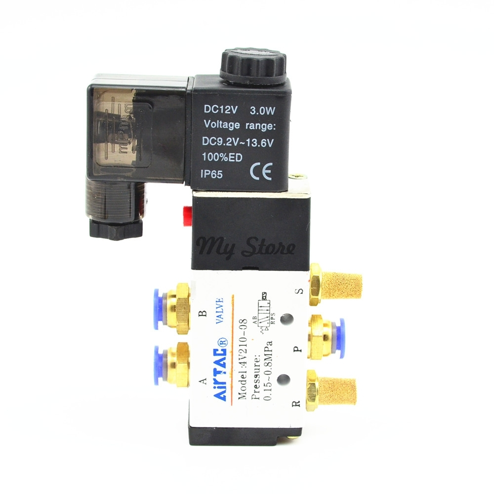 5 Way 2 Position Solenoid Valve With 6mm 8mm 10mm 12mm Fitting 4V210-08 DC24V DC12V AC110V AC220V free shipping triple solenoid valve 4v210 08 2 position base muffler connect 6mm 8mm quick fitting valves set 1 4 bsp