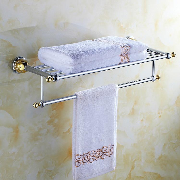 ФОТО High Quality European Style Solid Brass Luxury Chrome Diamond Bathroom Towel Holder Bathroom Towel Rack Bathroom Accessories