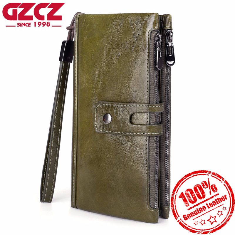 GZCZ Fashion Women 2018 Wallets Long Double Zipper Genuine Leather Coin Purse Solid Lady Clutch High Capacit Female Walle fashion genuine oil wax leather long women wallets female luxury brand coin purse lady clutch double zipper pocket magic walet