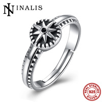 INALIS 2017 Vintage Star Genuine Silver Adjustable Ring for Women 925 Sterling-Silver-Jewelry Anillos Mujer Gift Size 7 8 9 10