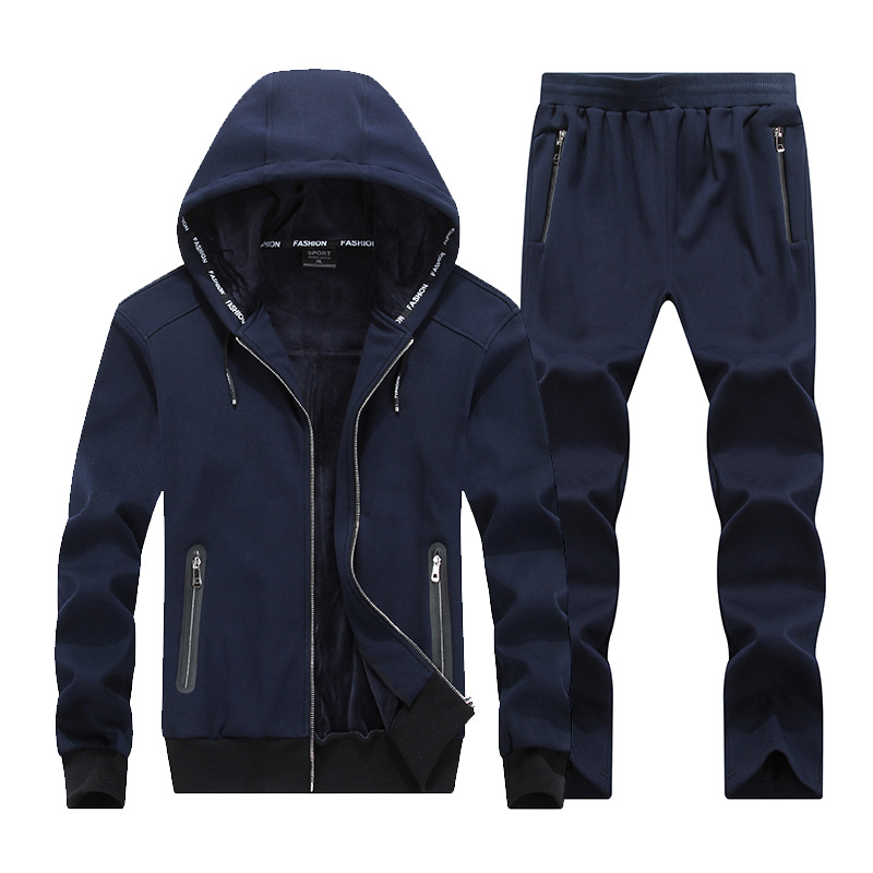 Large Size XL~8XL 9XL  Winter Men Sporting Suit Hoodies Jacket+Pant Thick Sweatsuit Two Piece Set Tracksuit For Men Clothing