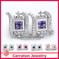 Carraton ESQDX2023 Colorful Zircons Pure Silver Small Stud Earrings