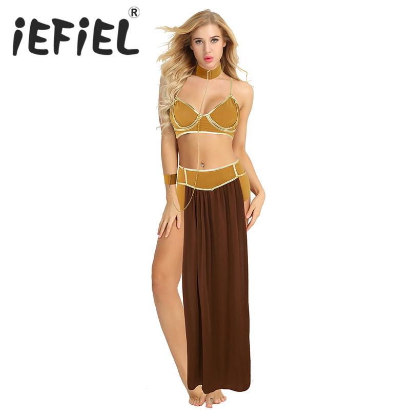 New Arrival Women Adult Princess Halloween Cosplay Uniforms Set Top Bra Skirt Boxer and Neckwear for Prom Fancy Party Dress-Up