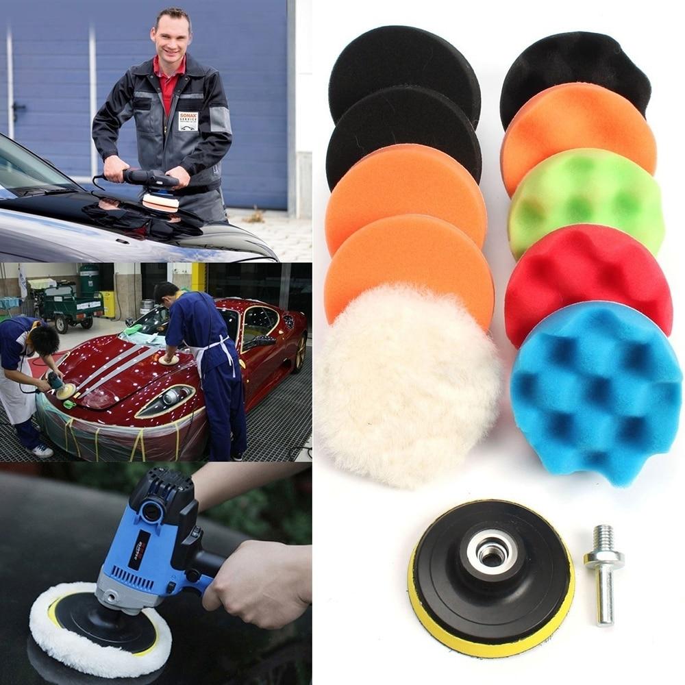 цена на 11Pcs 3/5/6/7 Waffle Buffer Compound Waxing Polishing Wheel Tool Sponge Pad Drill Adapter Kit Set for Auto Car Polisher pad