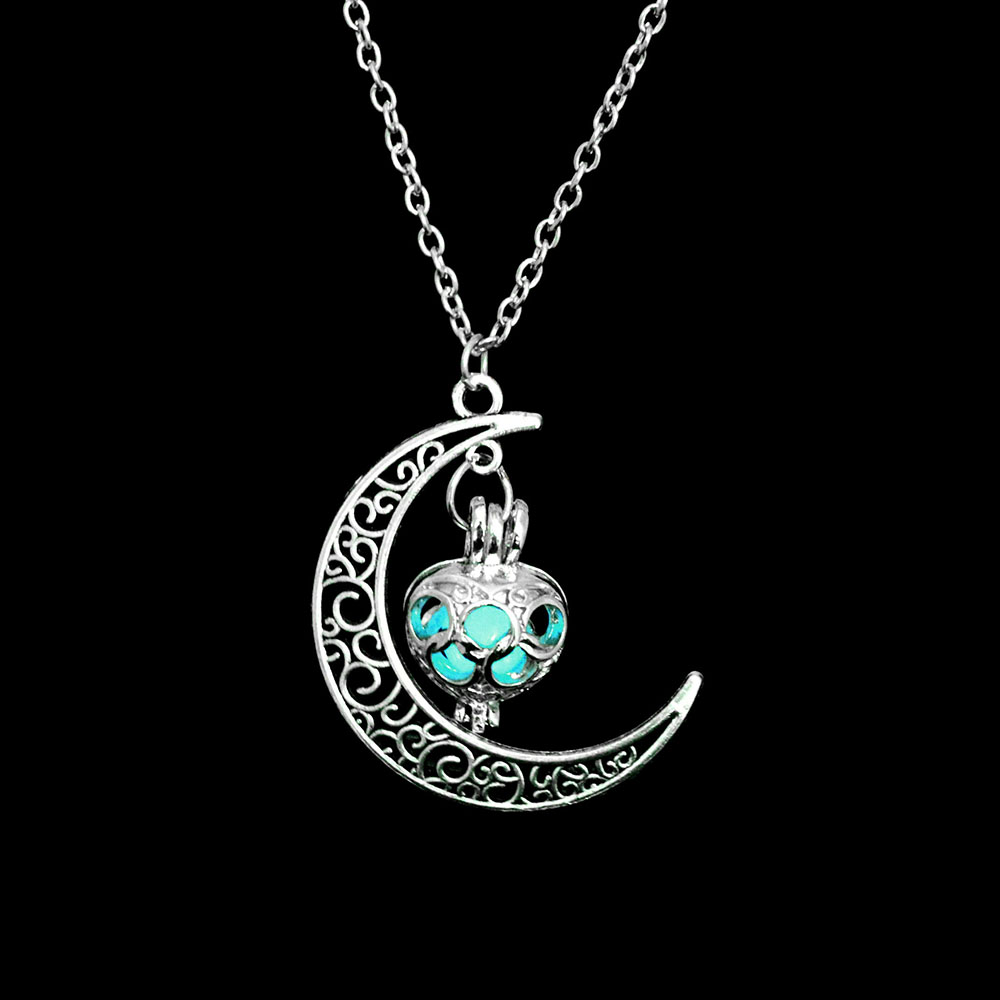 Vienkim Neo-Gothic Luminous Pendant Necklace Women Charm Moon In The Dark Glowing Stone Necklaces For Jewelry Christmas Gifts 18