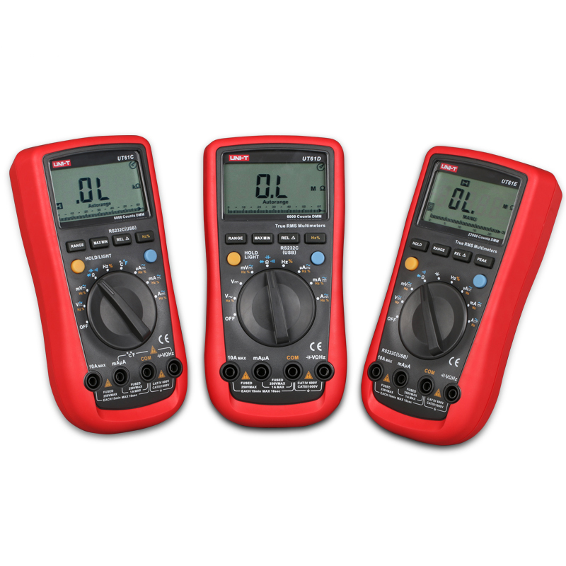 Digital Multimeters UNI-T UT61C UT61D UT61E Meters LCD Backlight & Data Hold Multitester AC&DC Current Voltage Multimeter uni t ut61a ut61b ut61c ut61d ut61e digital multimeter ture rms dmm ac dc meter data hold multitester electrical instruments