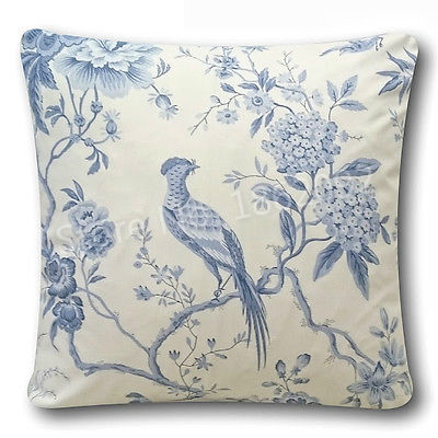 French Country Ivory China Blue Linen Cotton Cushion Cover