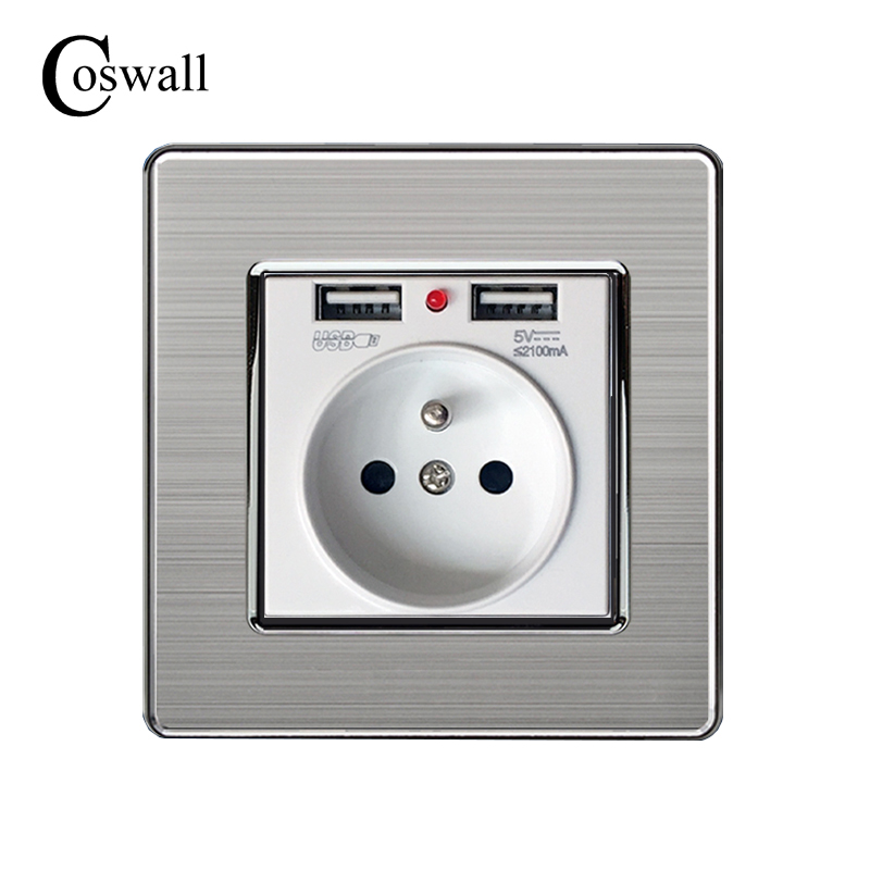 Coswall 2017 New 16A French Standard Wall Power Socket Stainless steel panel Outlet 2.1A Dual USB Charger Port for Mobile coswall wall socket uk standard power outlet switched with dual usb charge port for mobile 5v 2 1a output stainless steel panel