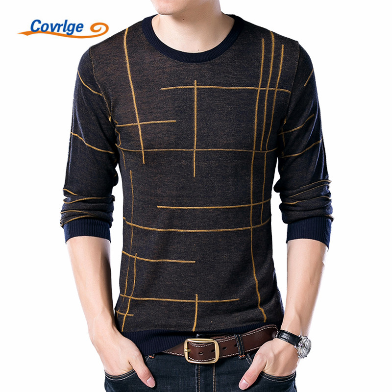 Covrlge Brand Sweater for Men 2017 Autumn Winter New Mens Sweaters Fashion Round Collar Line Pattern Design Pullover Male MZL016