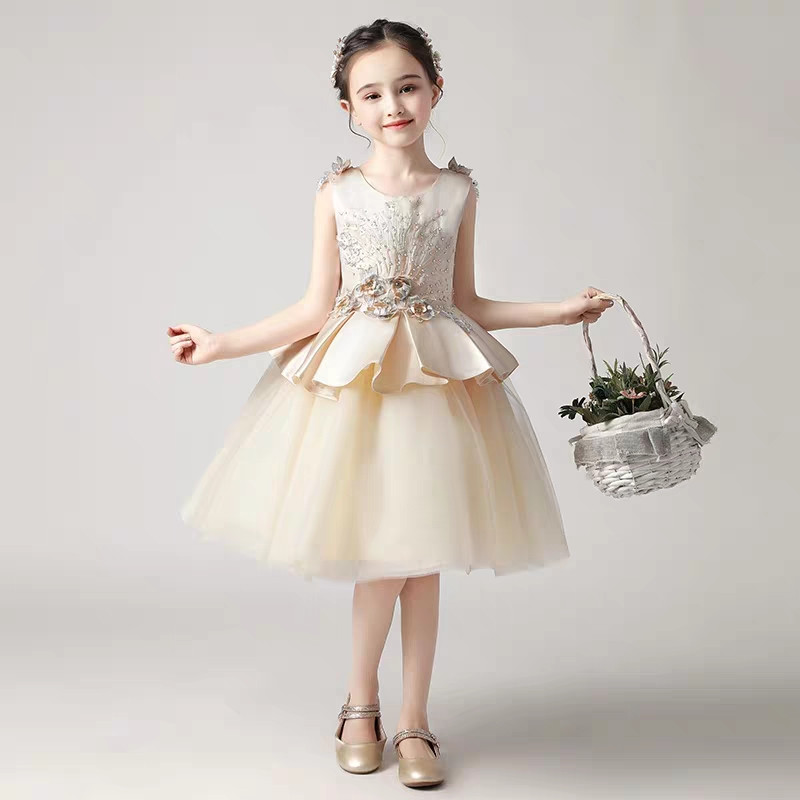 2019 New Elegant Baby Girls Champagne Color Evening Birthday Party Dress For 4~12years Teens Kids Piano Costume Prom Mesh Dress2019 New Elegant Baby Girls Champagne Color Evening Birthday Party Dress For 4~12years Teens Kids Piano Costume Prom Mesh Dress