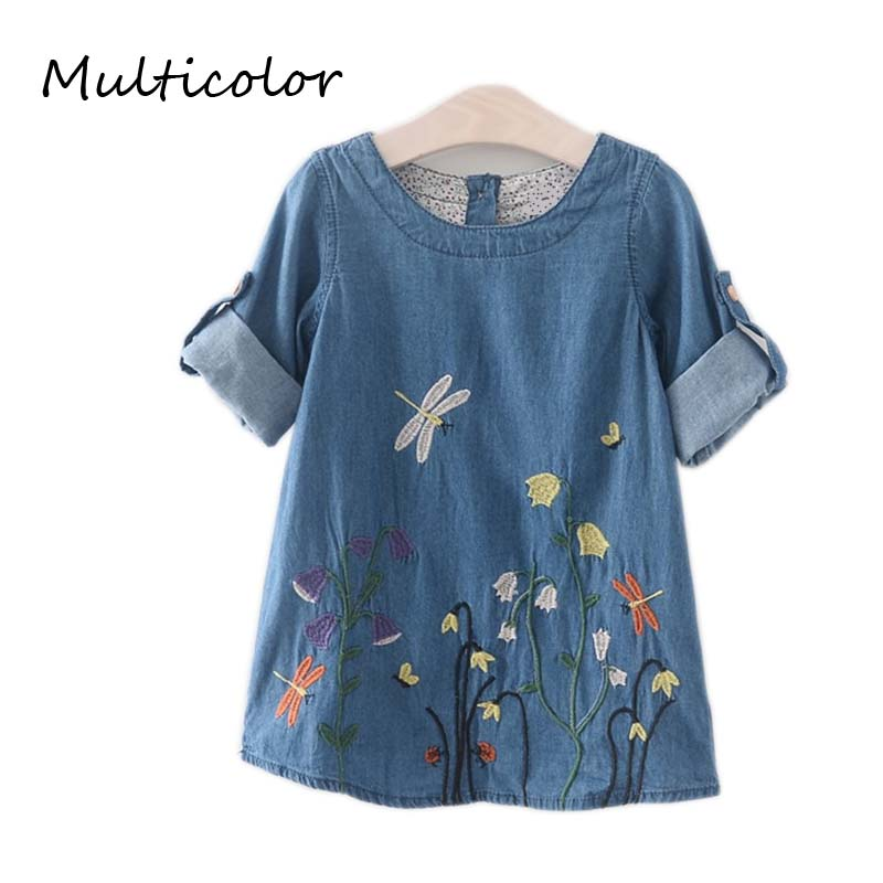 Multicolor Girls Denim Baby Dress 2017 Children Clothing Spring Casual Style For Girls KIDS Butterfly Embroidery Dress Clothes