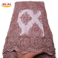 African Lace Fabric 2018 High Quality Lace Embroidery Fabric 5Y French Tulle Lace Fabric With Beads