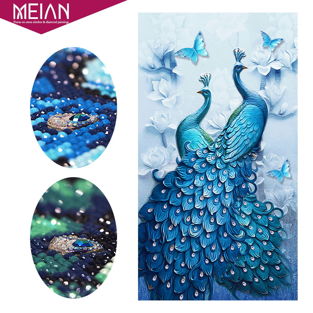 Meian 5D DIY Diamond Painting Peacock Special Drill Animal