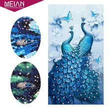 Meian, 5D DIY алмазная живопись павлин, специальная дрель Daimond аксессуары вышивка, животное, полный, горный хрусталь, Алмазная мозаика картина