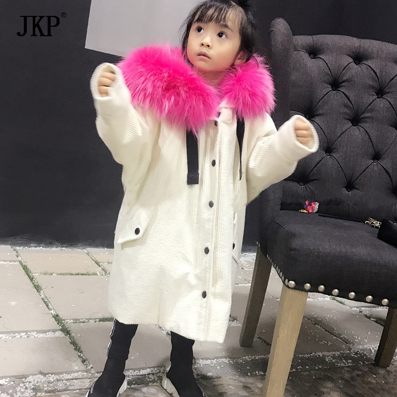 JKP2018 New winter Children's Fur Jacket baby girl and boy Big Raccoon Fur Collar Cotton Outerwear fashion Thick baby Coat CT-22 nisi 77mm pro uv ultra violet professional lens filter protector for nikon canon sony olympus camera