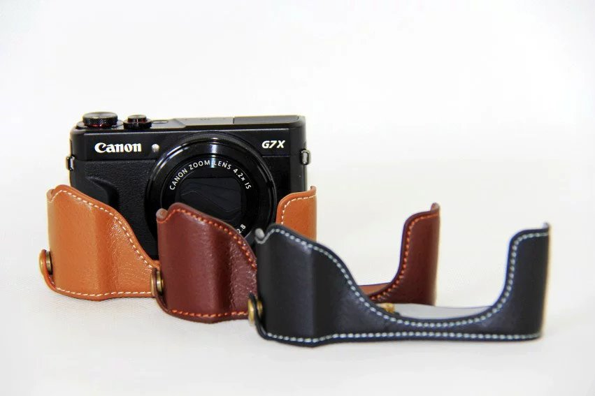 Genuine Real Leather Half Body Set Cover With Battery Opening Case For Canon Powershot G7 X Mark II G7X Mark 2 G7X2 G7X