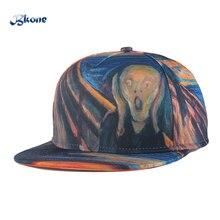 BKONE Unisex Baseball Caps Snapback Street Hip Hop Cap 3D Scared Wizards Oil Drawing 6 Bones Flat Casquette Adjustable Sun Hats