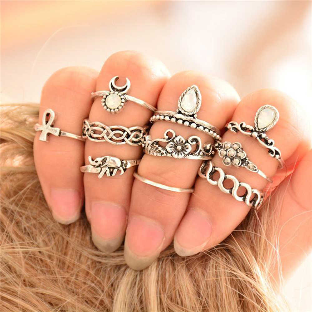 10pcs/Set Vintage Ring Set Unique Carved Antique Silver Anil los Crystal Knuckle Rings for Women Boho Beach Jewelry