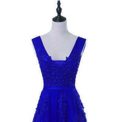 Горячая Распродажа, Коктейльные Вечерние платья, короткое, Vestido de Festa, Мини сексуальное платье с аппликацией, v-образным вырезом, бисером и жемчугом - Цвет: royal blue