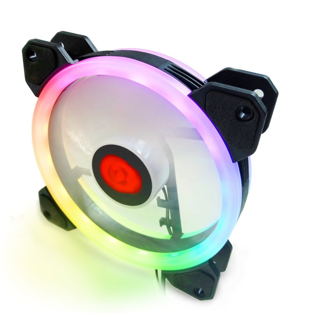 Colorful RGB Led Cooling Fan Heat Radiator USB Power Ultra Silent Dissipate Temperature Control For 12MM Mute Chassis Fan