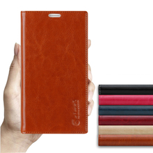 Sucker Cover Case For Sony Xperia Z3 L55T D6603 D6643 High Quality Luxury Genuine Leather Flip Stand Mobile Phone Bag +free gift