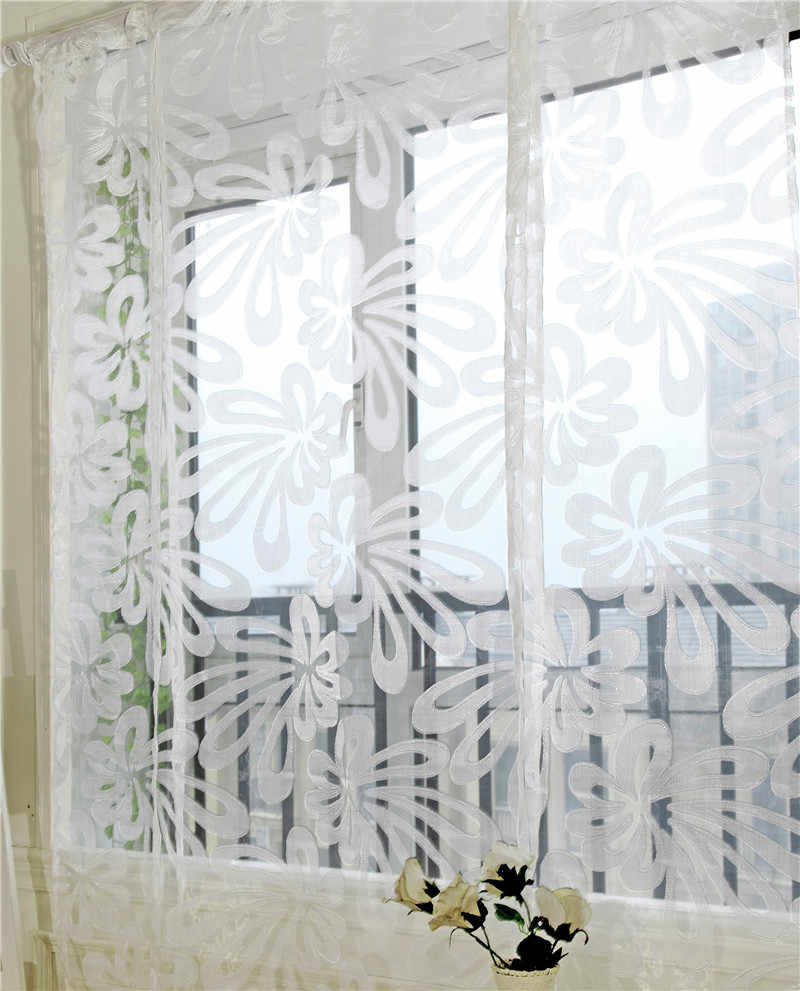 Enipate Simple Style Flowers Tulle Window Curtain Living Room Bedroom Valance Jacquard Roman Blinds Sheer Short Door Curtains