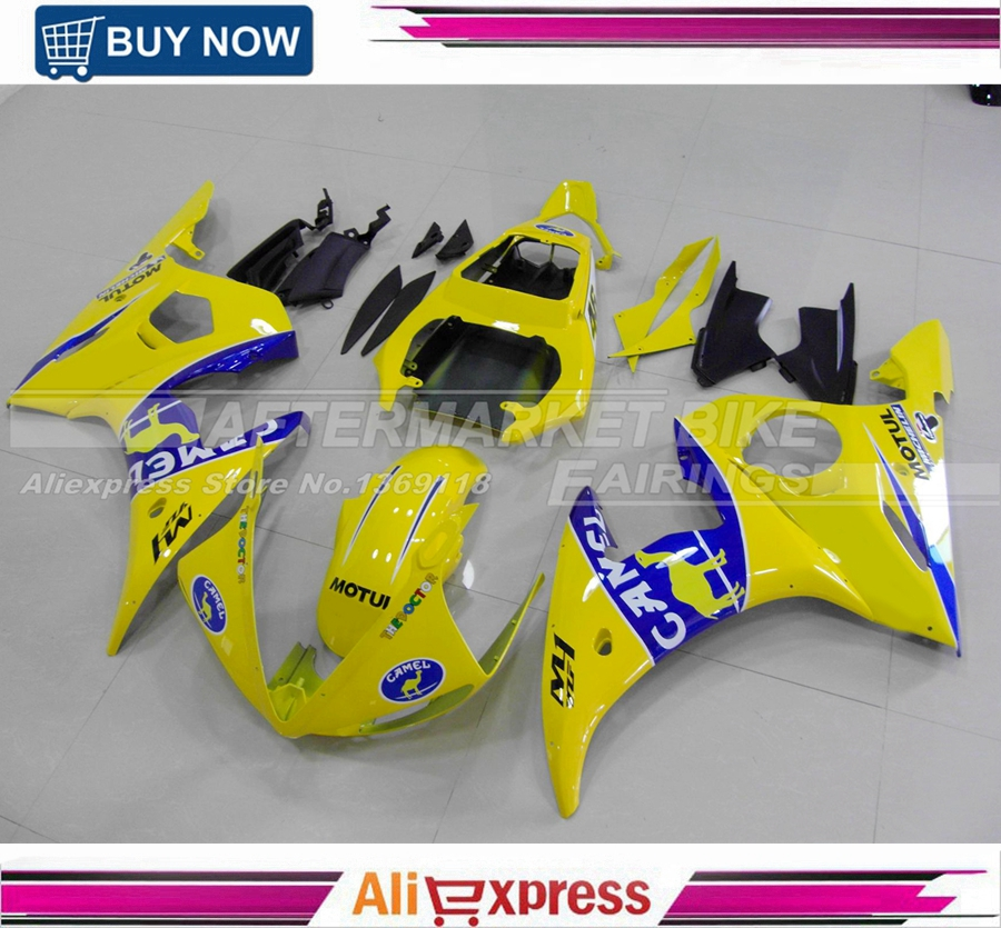 Injection Cowling For Yamaha R6 03 04 2003 2004 Plastics ABS R6 Fairings YZF600 Motorcycle Full Fairing Kits Covers Yellow Camel injection molding bodywork fairings set for yamaha r6 2008 2014 orange black full fairing kit yzf r6 08 09 14 zb80