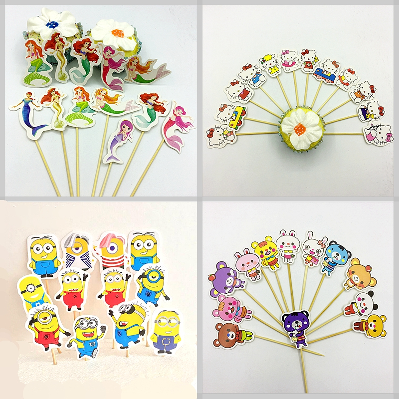 24pcs Cartoon Minions Mermaid Fairy Elf Cake Cupcake Topper Girl Boy kids Birthday Wedding Baby Shower Decoration Party Supplies