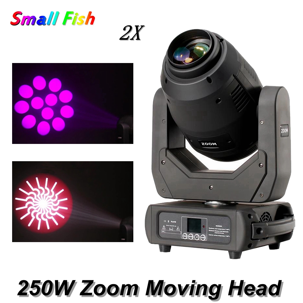 2Pcs/Lot 250W Spot Beam Wash Zoom 4IN1 Moving Head Light 8-facet Prism DMX512 DJ Disco Light Party Wedding Club Bar Stage Lights