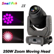 2Pcs/Lot 250W Spot Beam Wash Zoom 4IN1 Moving Head Light 8-facet Prism DMX512 DJ Disco Light Party Wedding Club Bar Stage Lights
