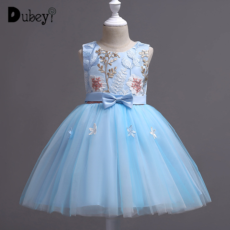 Girls Princess Embroidery Flower Dress Costumes for Kids Prom Dresses Clothes European and American Children's Evening Dress