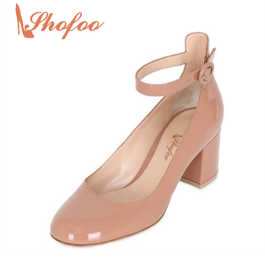 ФОТО Shofoo Schuhe Damen 2017 Genuine Leather Gladiator Ankle Buckle Strap Med Square Heels Pumps Casual Brand Shoes Women,Plus 4-16.