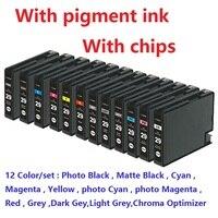 XIMO 12 шт./компл. PGI 29 PGI29 PGI 29 совместимый картридж с чернилами для canon PIXMA PRO 1 принтер, с чипом, пигментными чернилами