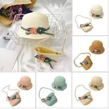 Modis Kecil Fresh Anak Straw Topi Bayi Matahari Topi Perempuan Musim Panas  Tutup Pantai Kedok Topi 42a399f1e4
