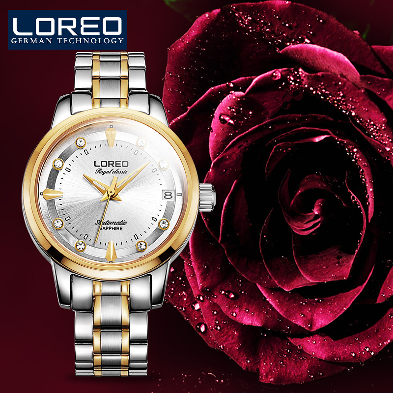LOREO Sapphire Automatic Mechanical Watch Women Stainless Steel Waterproof Watch Relogio Masculine Auto Date Wristwatches AB2045 loreo sapphire automatic mechanical watch men stainless steel waterproof auto date nylon watch relogio masculine masculino k34