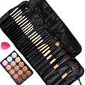 15 Color Beauty Base New Brand makeup Concealer Platte and 24pcs Brushes for makeup and Sponge Puff Set