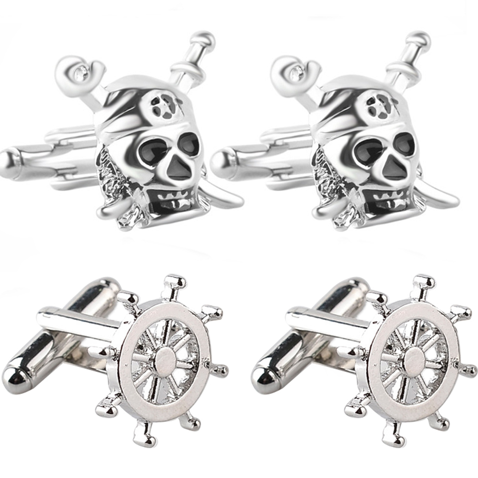 Trendy rudder pirate ship skull twins cufflinks buttons gifts Fashion silver pirate sword cufflinks for men shirt jewelry gifts pair of trendy solid color smooth surface cylinder shaped cufflinks for men