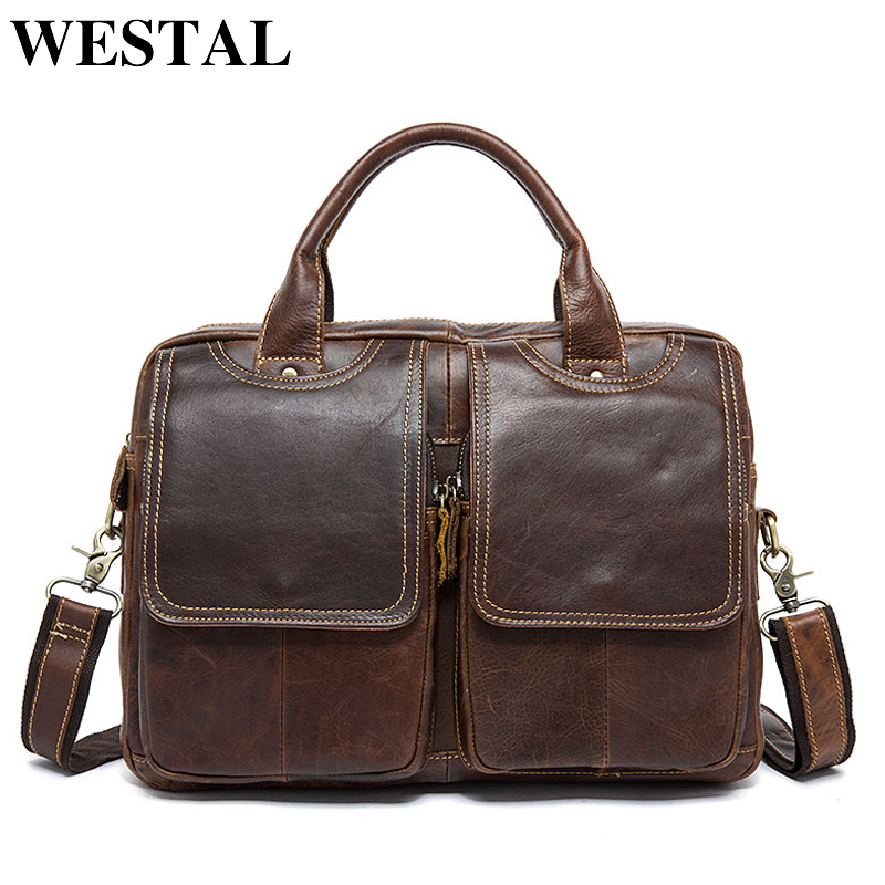 WESTAL Leather Briefcase For Men Bag A4 Men's Briefcase Genuine Leather Laptop Bag For Document Business Office Bags For Men(China)