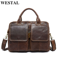 WESTAL leather briefcase for men bag a4 men's briefcase genuine leather laptop bag for document business office bags for men