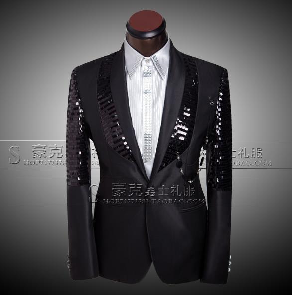 b9f5a715eee6 Nero 2019 di marca di arrivo abbigliamento uomo uomo slim insieme del  vestito di paillettes pantaloni mens abiti da sposa sposo vestito di vestito  + pant + ...