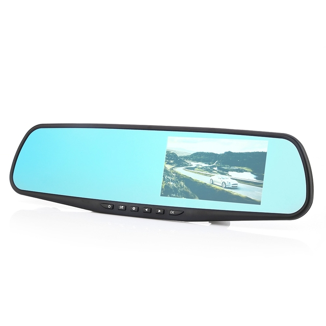4.3 inch Automobile DVR Rearview Mirror Data Recorder 1080P Camera LCD Screen Night Vision Built-In Speaker/Microphone