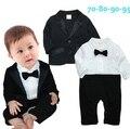 2016 niños de moda de ropa del chaleco del arco empate chico Formal , caballero niño conjunto de manga larga mono del bebé 2 unids envío gratis