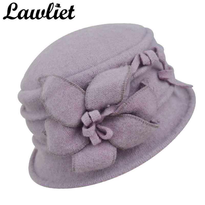 Lawliet Women Winter Hat Warm Pure Wool Cap Elegant Flower Floppy Hat  Fedoras Lady Cloche Bucket Church Hat A219