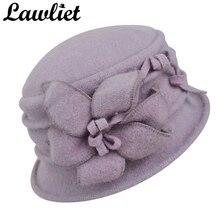 Lawliet Mulheres Inverno Chapéu Morno Gorro de Lã Pura Flor Elegante  disquete Chapéu de Meia Idade do Sexo Feminino chapéu de Fe. 2d891afda8d