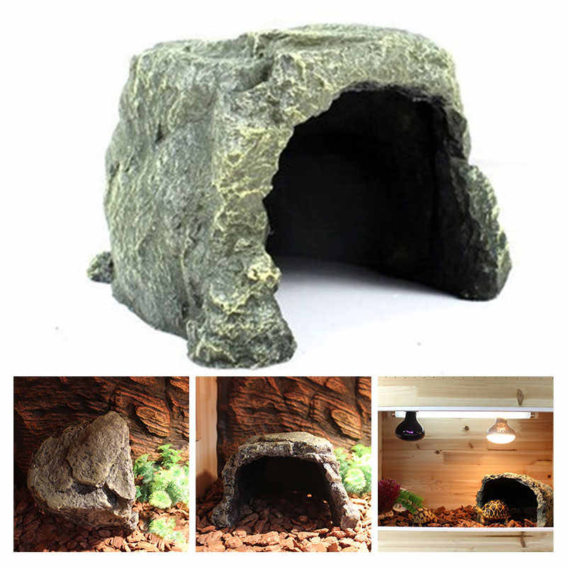 Resin Reptile Hide Rest Cave Practical Spider Reptile Hide Cave Durable Ornament Reptile Hiding Spot Pet HabitatAquarium Reptile