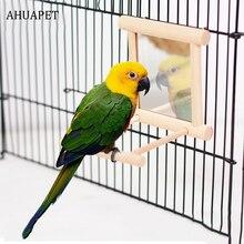 AHUAPET забавная Мини Птица красочное зеркало Cama Beliche птица деревянная подставка жердочка для птицы Попугай волнистые попугаи игрушки для попугаев E