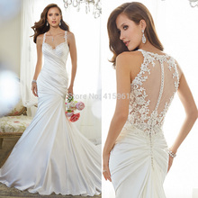 2015 New Design White Mermaid Wedding Dresses Backless Bridal Gowns Satin Pleat Straps Court Train Vestido Women W3553